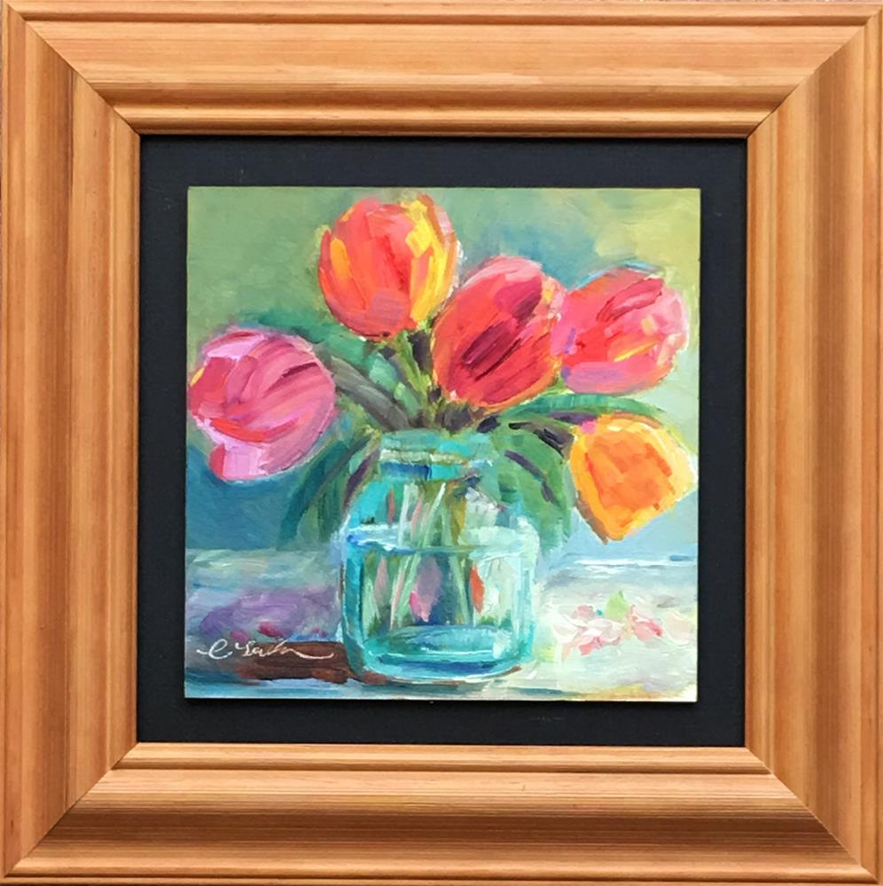 """Tulip (Framed)"" original fine art by Lisa Fu"