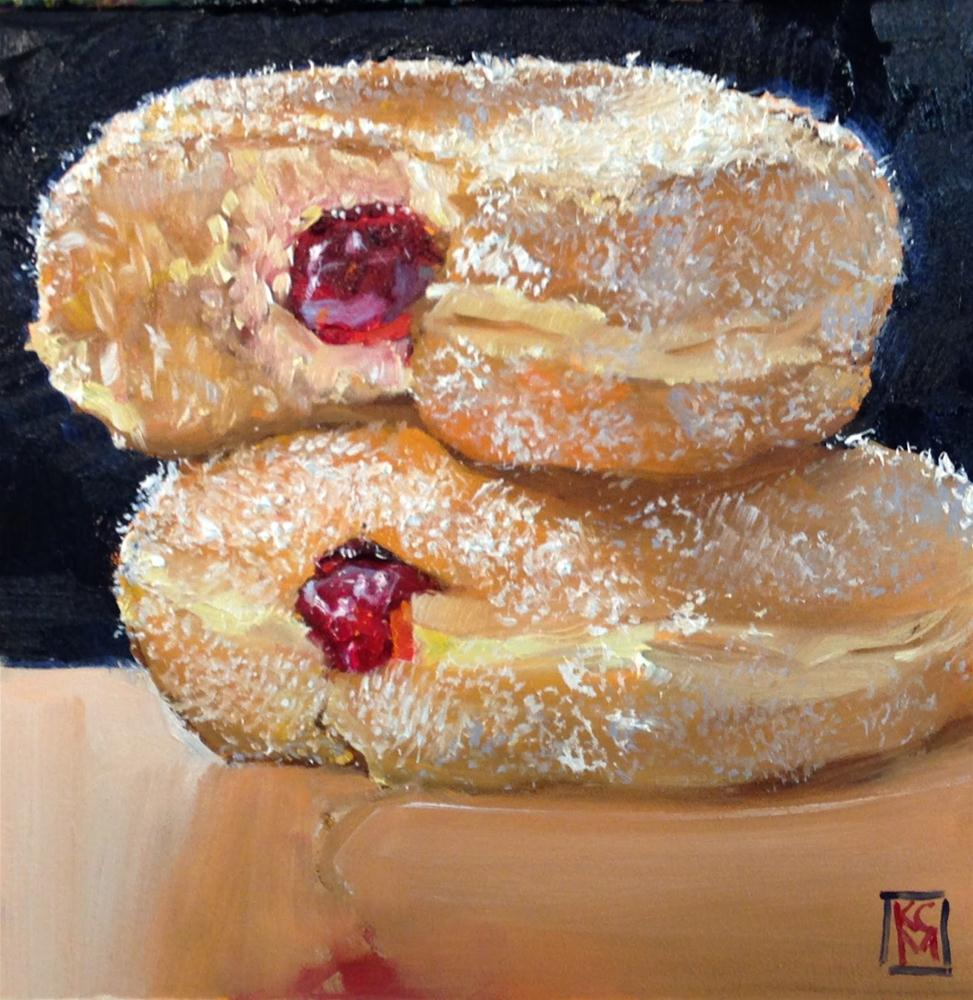 """Double Decker Donuts, 6x6 Inch Oil Painting of Donuts by Kelley Macdonald"" original fine art by Kelley MacDonald"