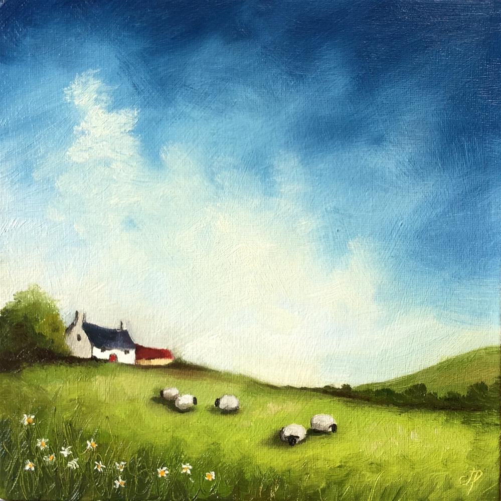 """cottage with sheep"" original fine art by Jane Palmer"