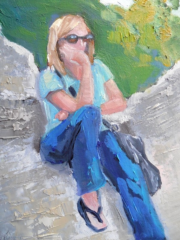 """Figurative Painting, Central Park Painting, Daily Painting, Small Oil Painting, Another Thinker, 6"" original fine art by Carol Schiff"