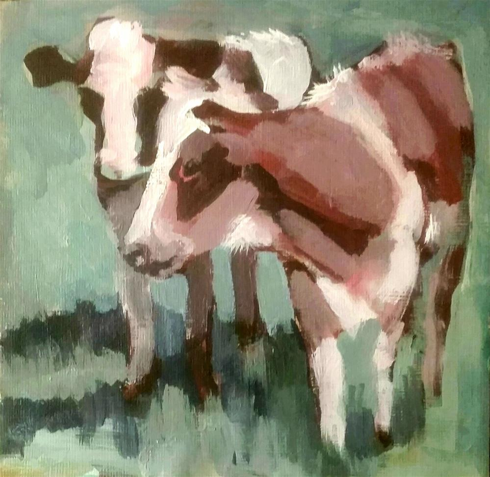 """Cow  Challenge"" original fine art by Liz Maynes"