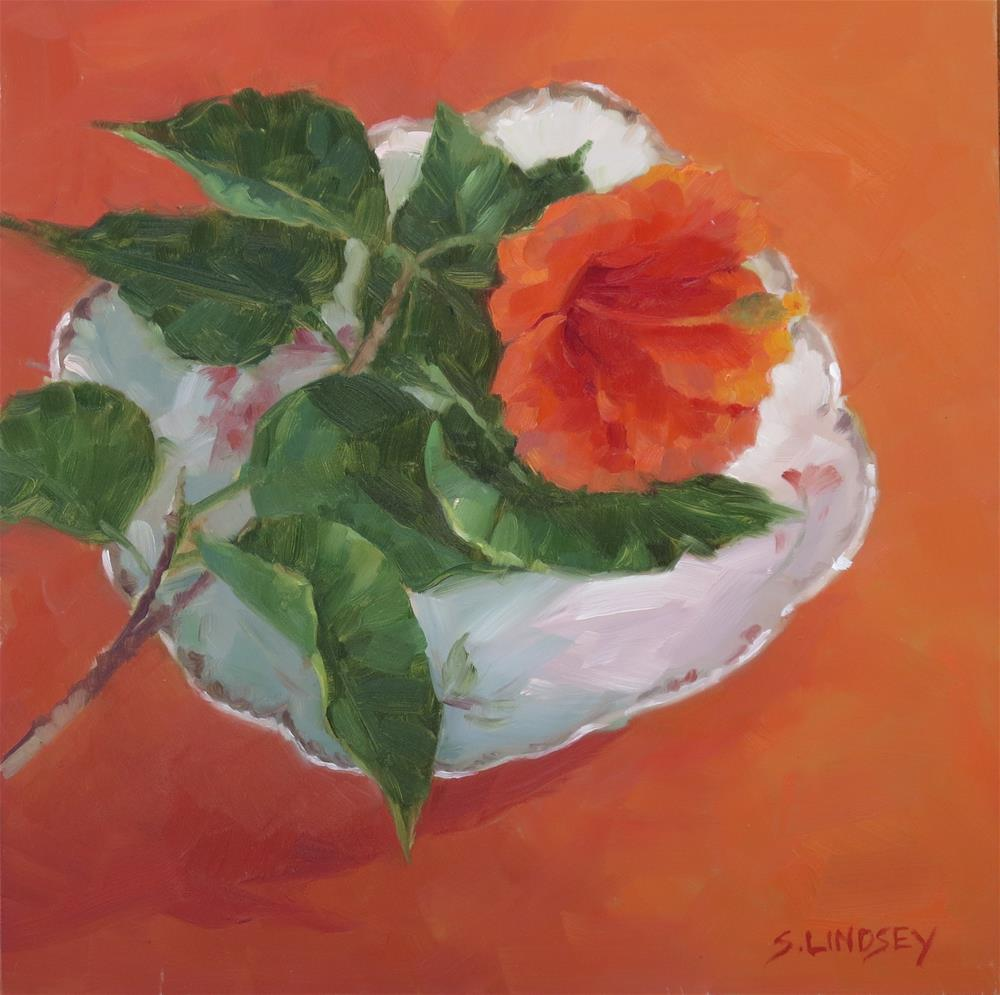 """Orange Hibiscus"" original fine art by Susan Lindsey"