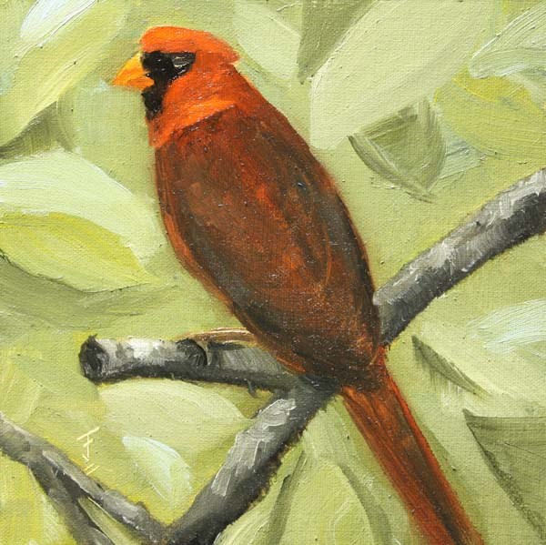 """Cardinal Red"" original fine art by Jane Frederick"