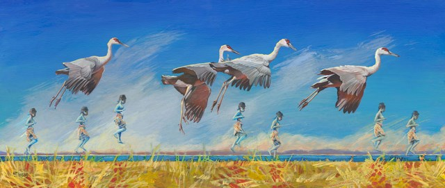 """Original Bird, Figurative,Landscape Whimsical Art Painting Remarkable Creatures by Colorado Artist"" original fine art by Nancee Busse"