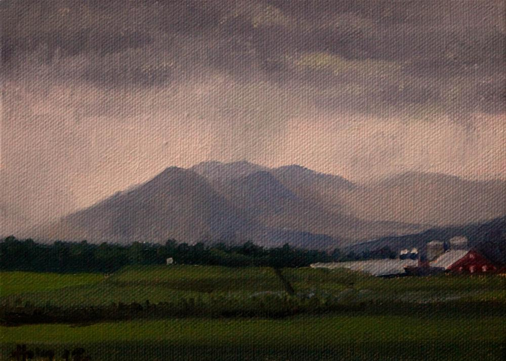 """Rain Over the Mountain"" original fine art by Ski Holm"