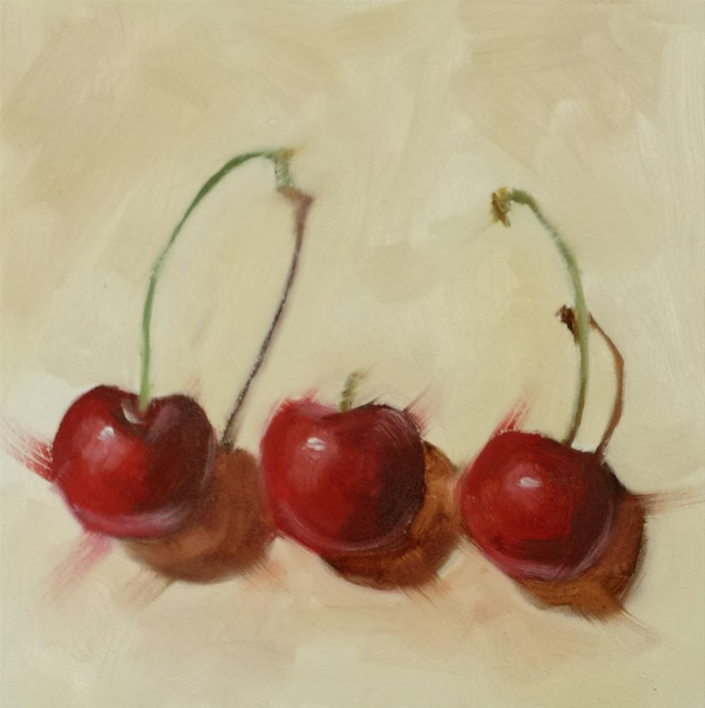 """Three Cherries and Two Stems"" original fine art by Cindy Haase"