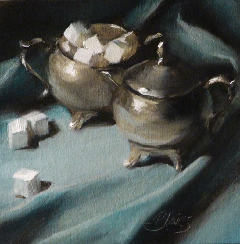 """Antique Silver on Blue"" original fine art by Pamela Blaies"