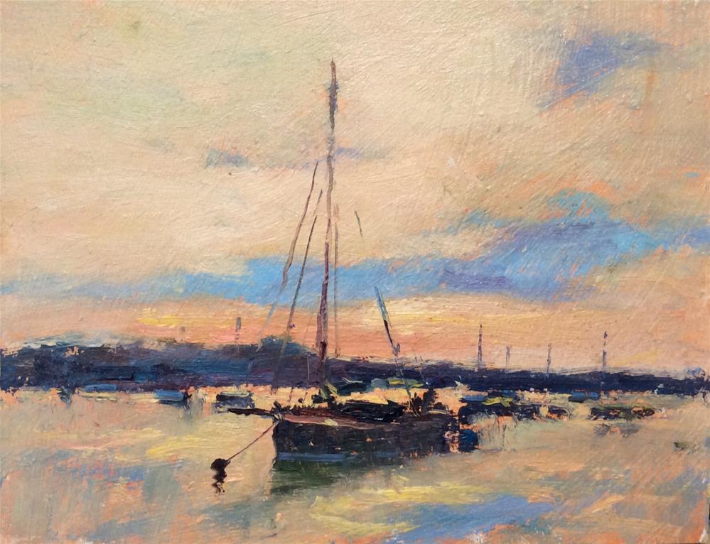 """Moored At Brightlingsea"" original fine art by John Shave"