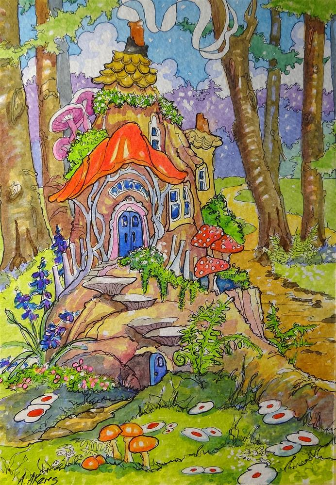 """Fairies Moved in Down the Road Storybook Cottage Series"" original fine art by Alida Akers"