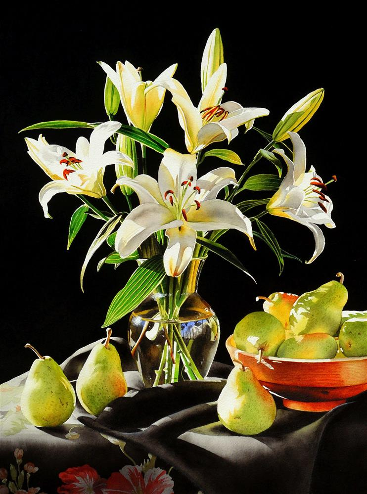 """Still Life with Lilies"" original fine art by Jacqueline Gnott, TWSA, WHS"