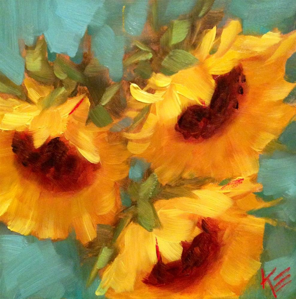 """Sunflowers"" original fine art by Krista Eaton"