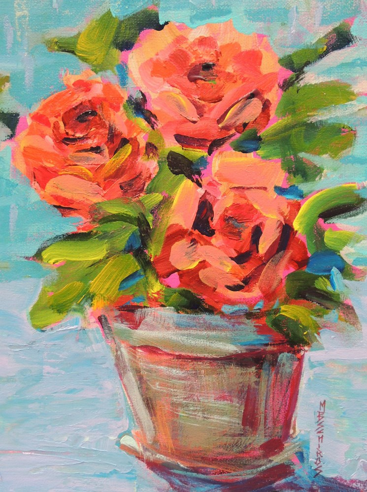 """Bold Roses"" original fine art by Mary Schiros"