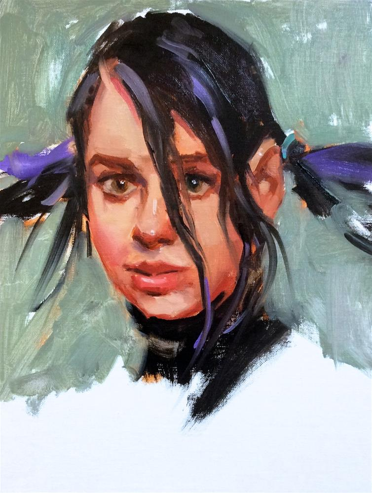 """Ponytail Girl 2 in Oils"" original fine art by Laurie Johnson Lepkowska"