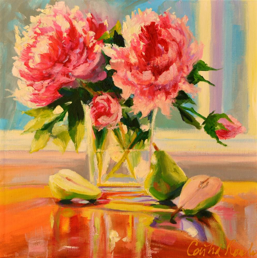 """PEONIES AND PEARS"" original fine art by Cecilia Rosslee"