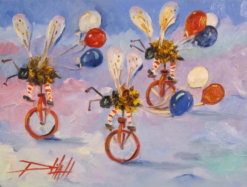 """Biker Bee 4th of July Parade"" original fine art by Delilah Smith"