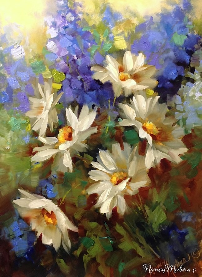 """Daisy Dance With Delphiniums by Nancy Medina"" original fine art by Nancy Medina"