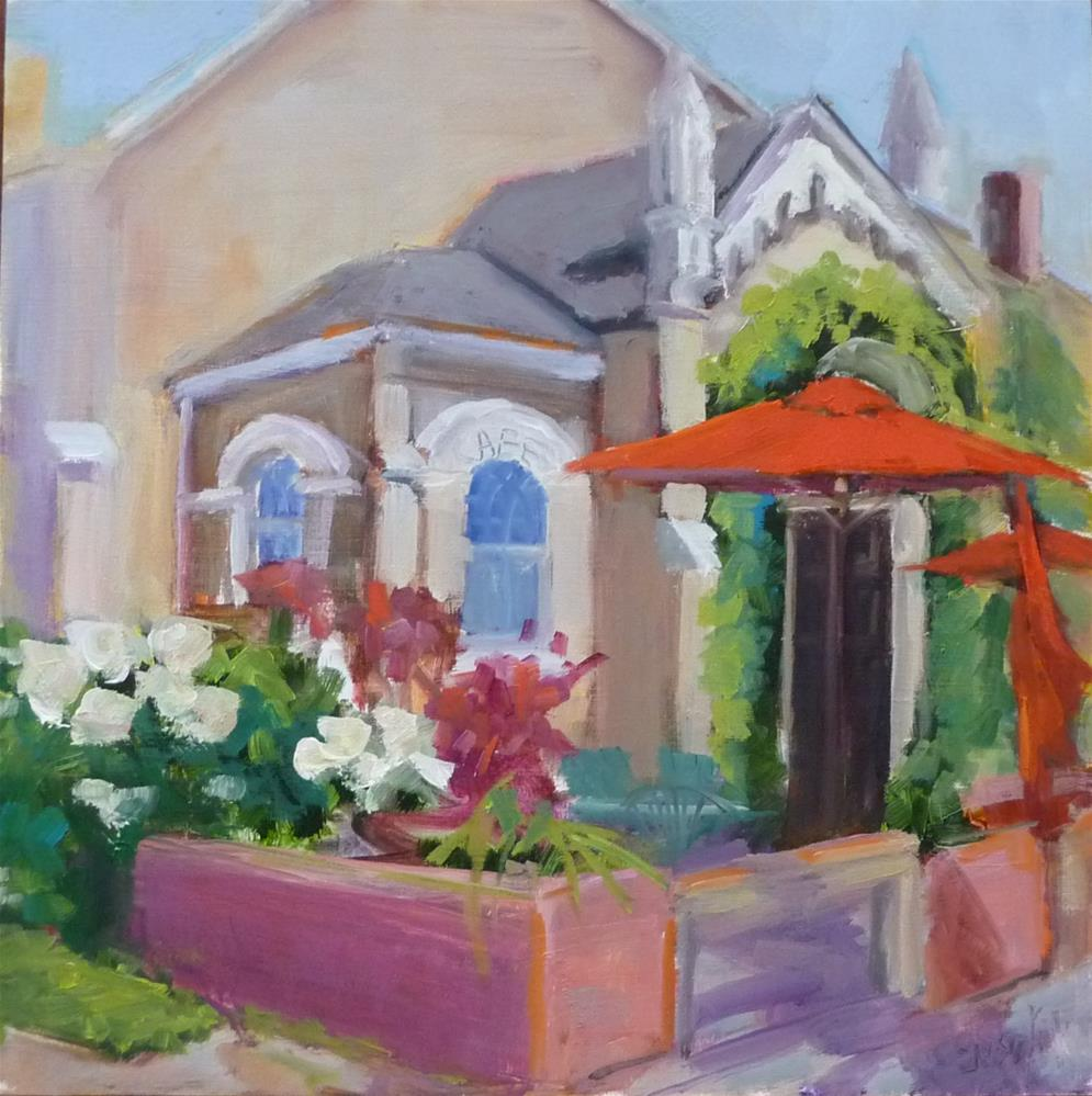 """Eileen's Bakery and Cafe #2 with sun on front"" original fine art by Carol Josefiak"