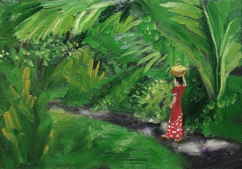 """Walking in Paradise"" original fine art by Jean Nelson"