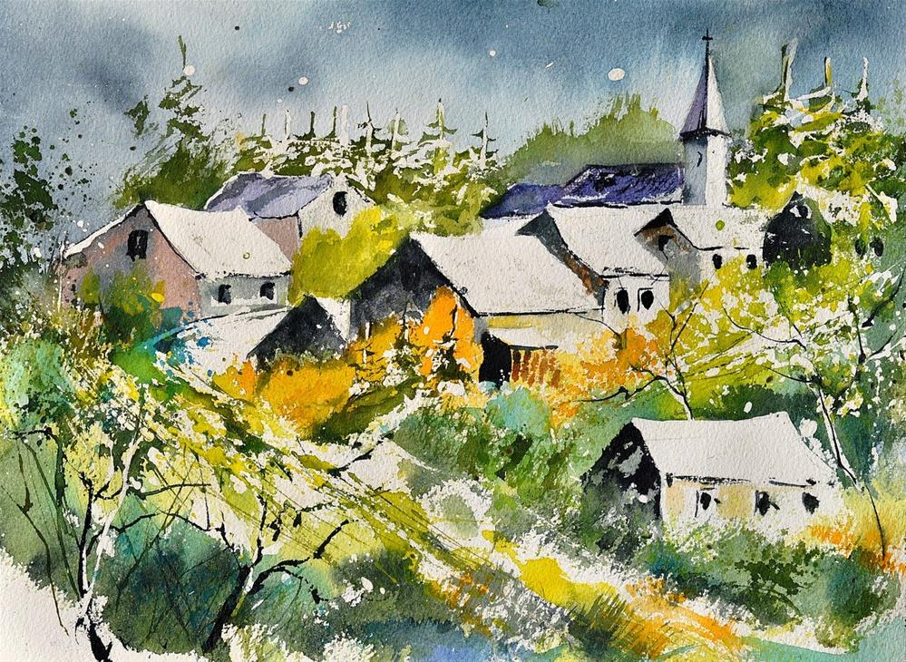 """""""watercolor Daverdisse"""" original fine art by Pol Ledent"""