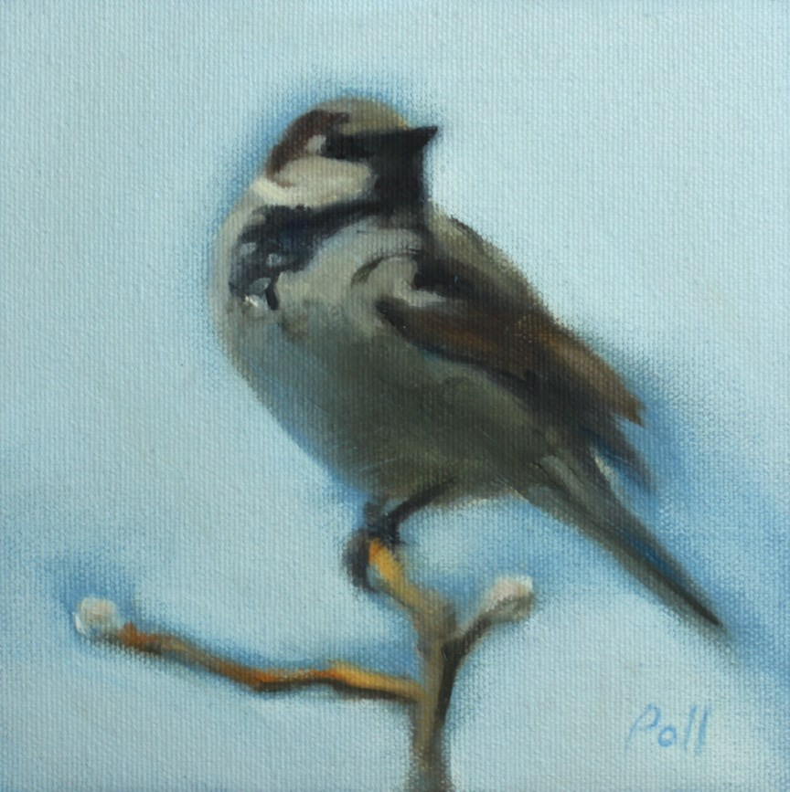 """House Sparrow"" original fine art by Pamela Poll"