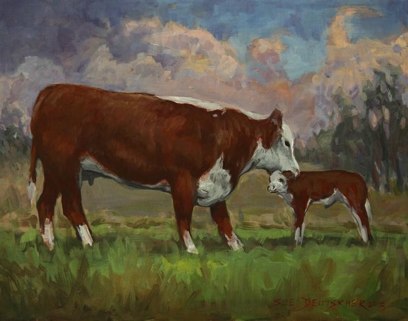 """""""Hereford Cow and Calf"""" original fine art by Sue Deutscher"""