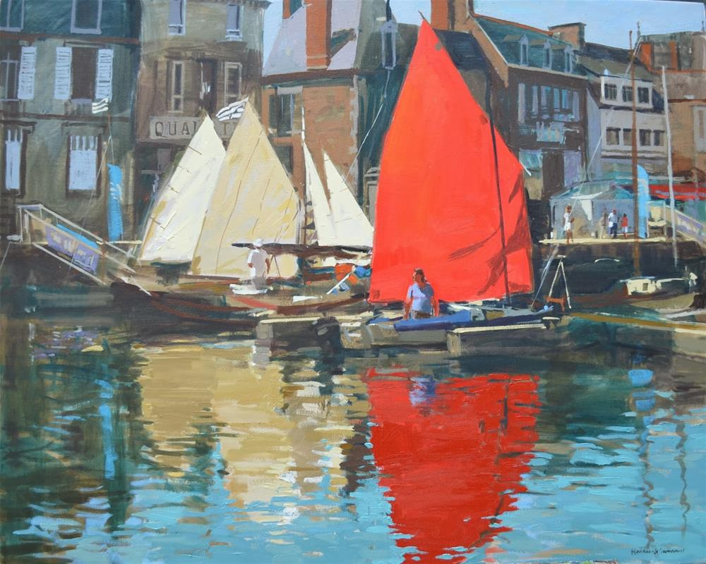 """Sails up in harbour, Paimpol"" original fine art by Haidee-Jo Summers ROI"
