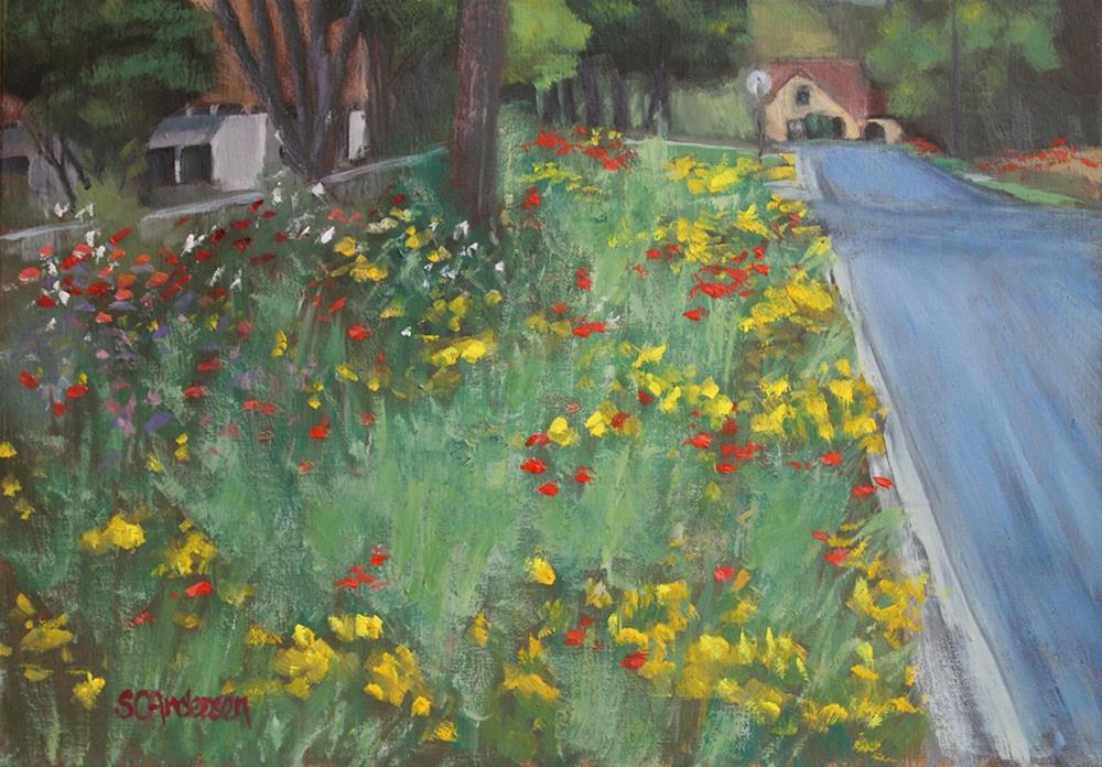 """Back street ablaze"" original fine art by Susan Andersen"