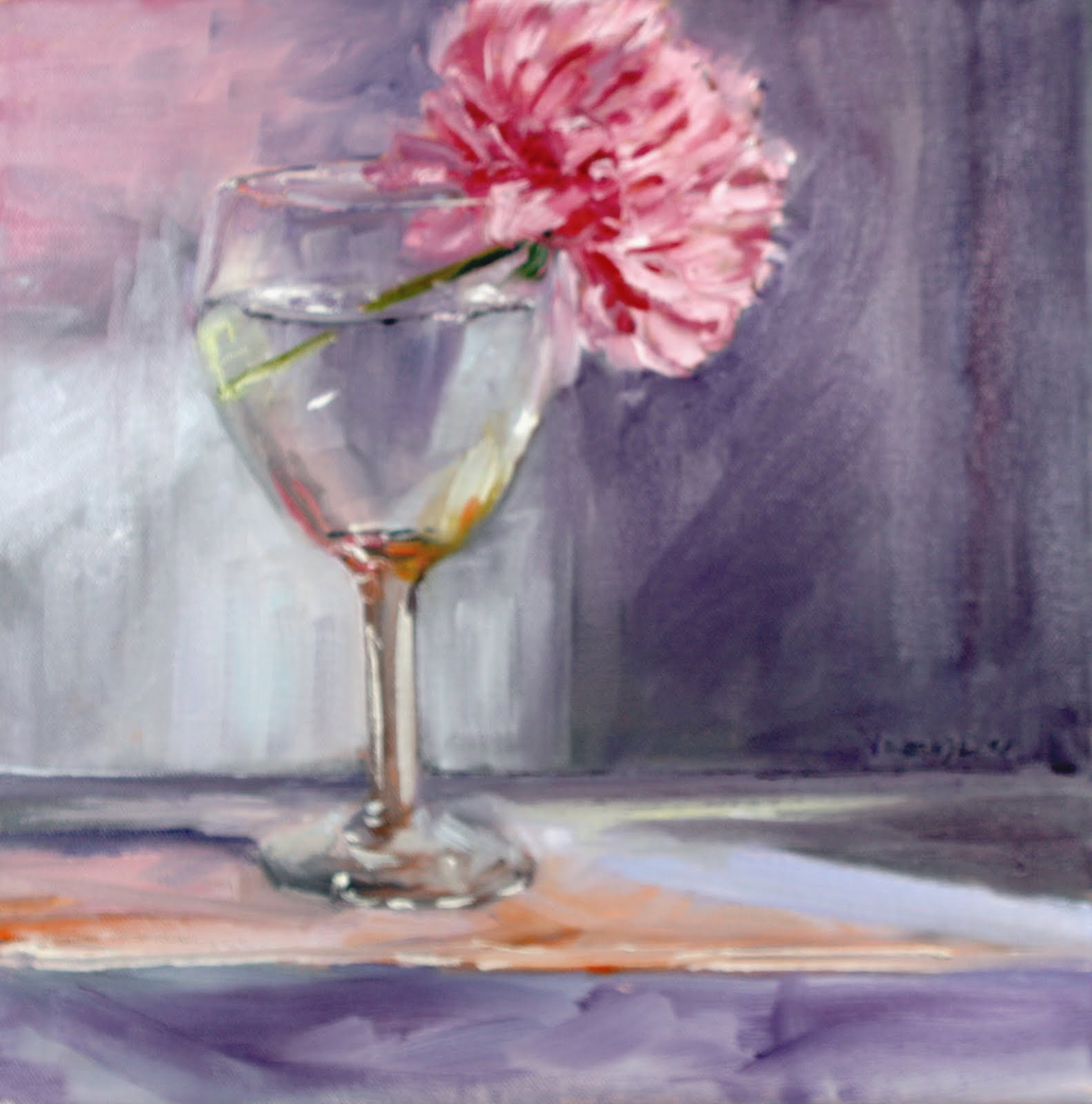 """still life painting with wine glass and pink peony"" original fine art by Carrie Venezia"