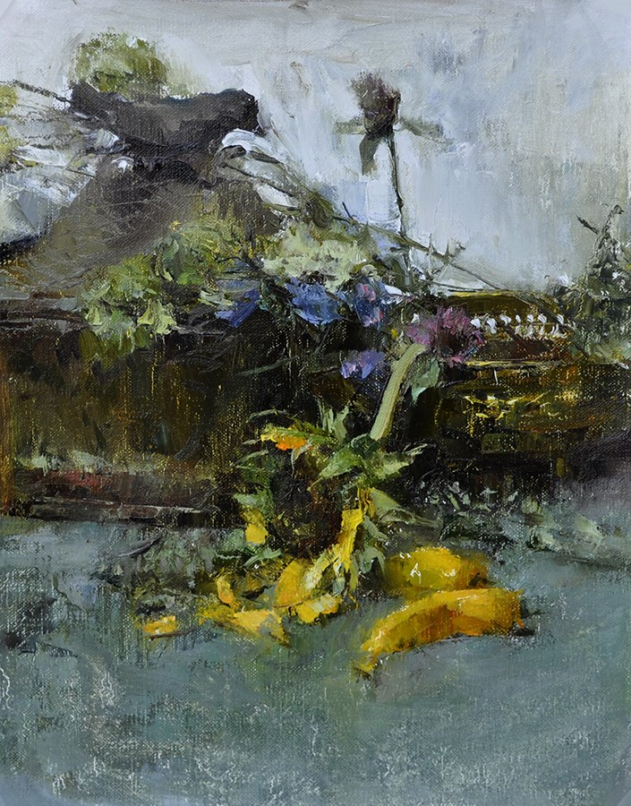 """still life with sunflower"" original fine art by Taisia Kuklina"