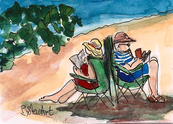 """ACEO Couple Reading Books on Beach Back to Back Together by Penny StewArt"" original fine art by Penny Lee StewArt"