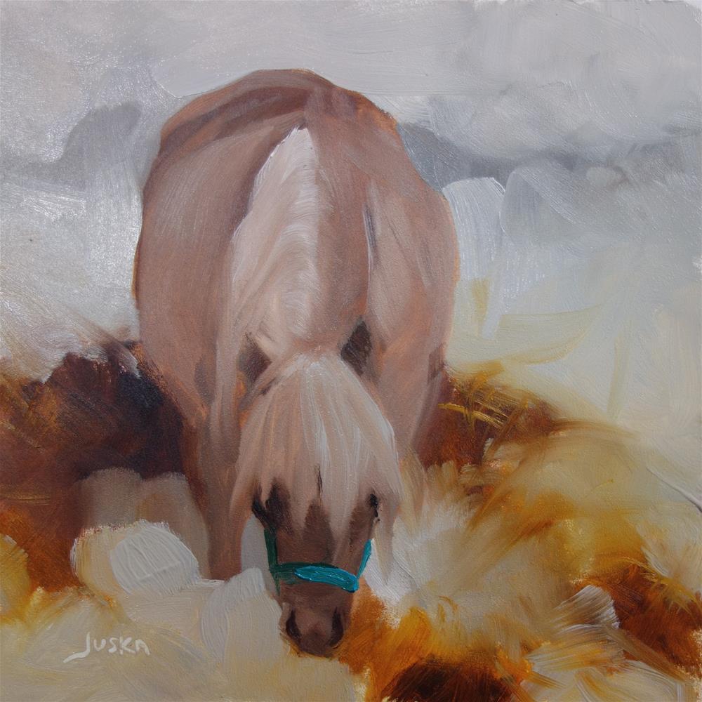 """""""Rolie Polie Pony in the Snow"""" original fine art by Elaine Juska Joseph"""