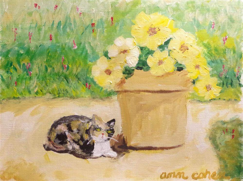 """""""Callie in the Garden"""" original fine art by Ann Cohen"""