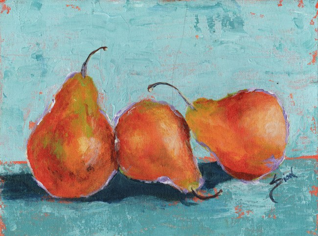 """Pear Still Life Pop"" original fine art by Sue Dion"