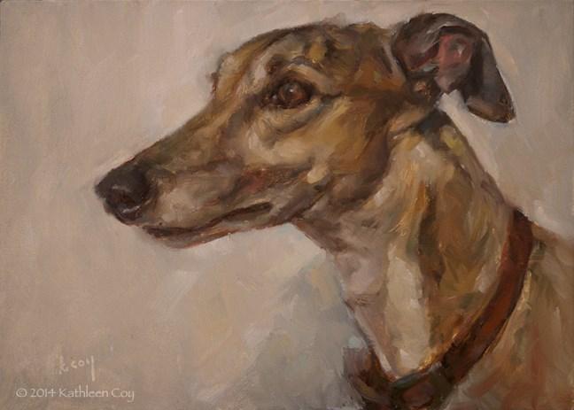 """""""Day 20 - Greyhound"""" original fine art by Kathleen Coy"""