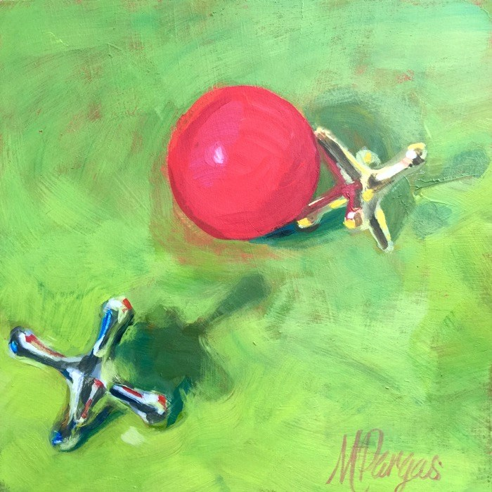 """Like a Red Rubber Ball"" original fine art by Mary Pargas"