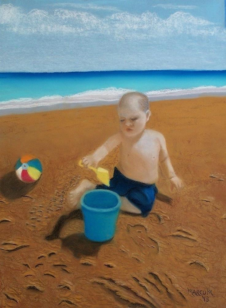 """Boy on a beach"" original fine art by John Marcum"