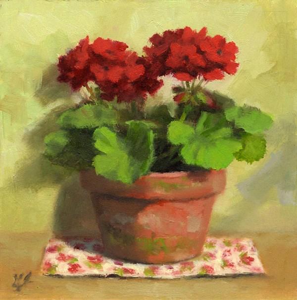 """Cottage Geraniums"" original fine art by Linda Jacobus"