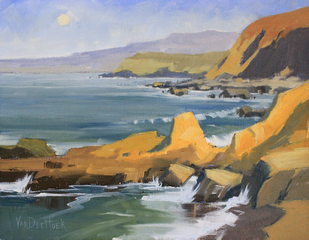 """Moon Over Bodega Bay - California Coastal Painting - Beach Painting"" original fine art by Kim VanDerHoek"