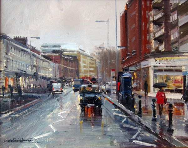 """Drizzly Day, Kings Road I (25) Chelsea Marathon"" original fine art by Adebanji Alade"