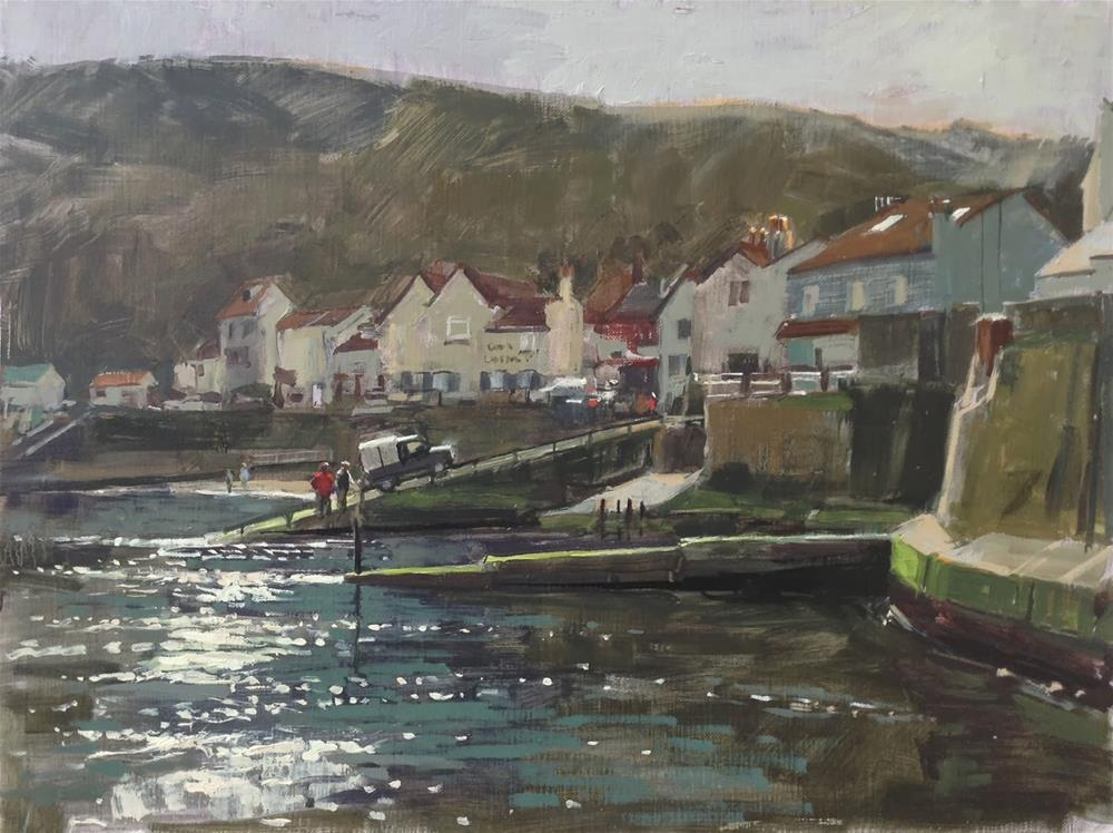"""Morning light at Staithes"" original fine art by Haidee-Jo Summers ROI"
