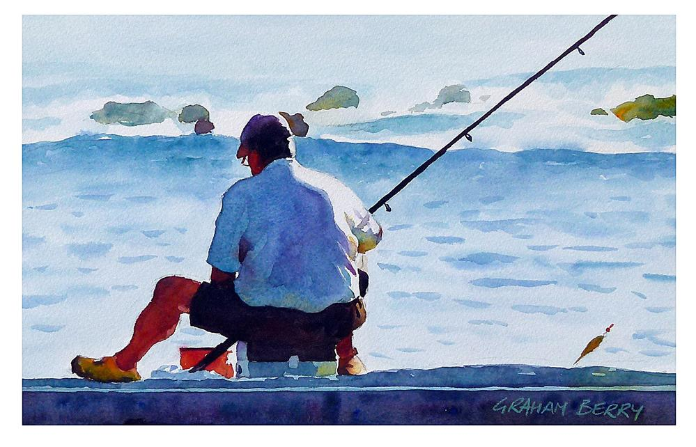 """Fishing from the sea wall."" original fine art by Graham Berry"