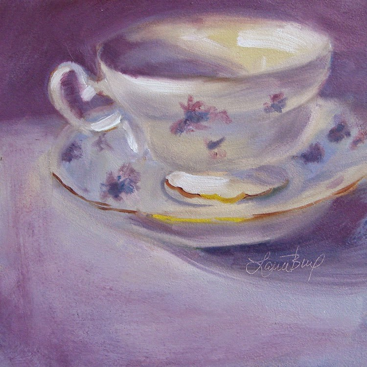 """Mom's Teacup with Violets 328"" original fine art by Laura  Buxo"