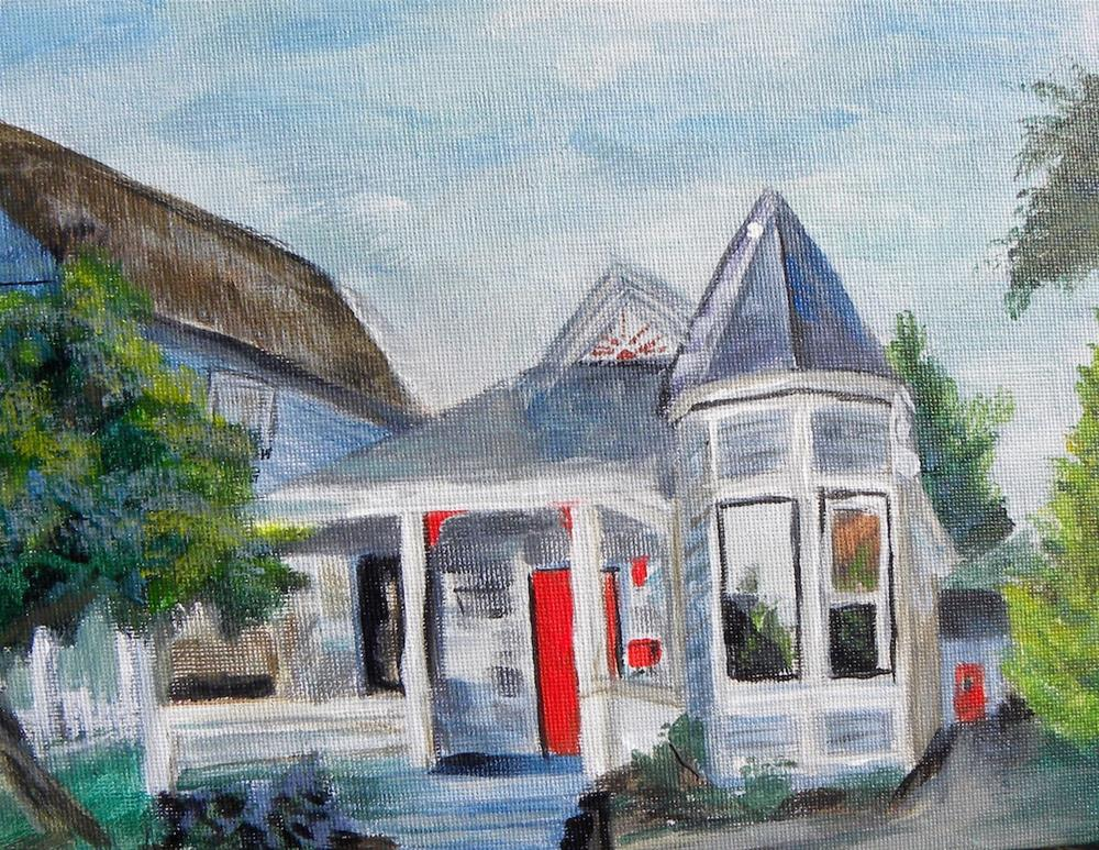 """Blue Cottage"" original fine art by cheryl buhrman"