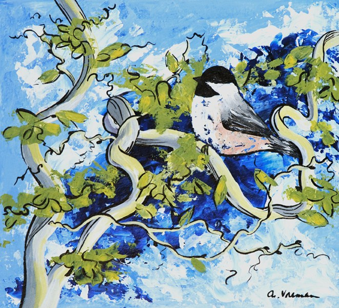 """Chickadee"" original fine art by Anna Vreman"