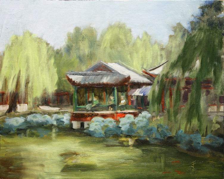 """Summer Palace Pagoda"" original fine art by Jane Frederick"