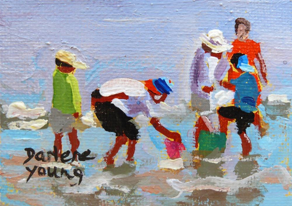 """932 Beach Kids, oil on board, 2.5x3.5"" original fine art by Darlene Young"