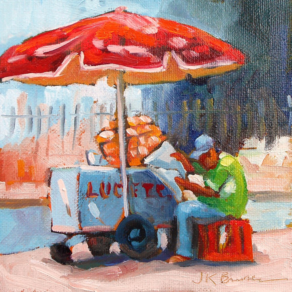 """Street Vendor"" original fine art by Jeanne Bruneau"