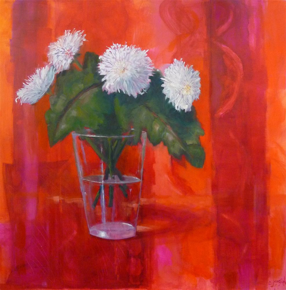 """White Mums"" original fine art by Carol Josefiak"
