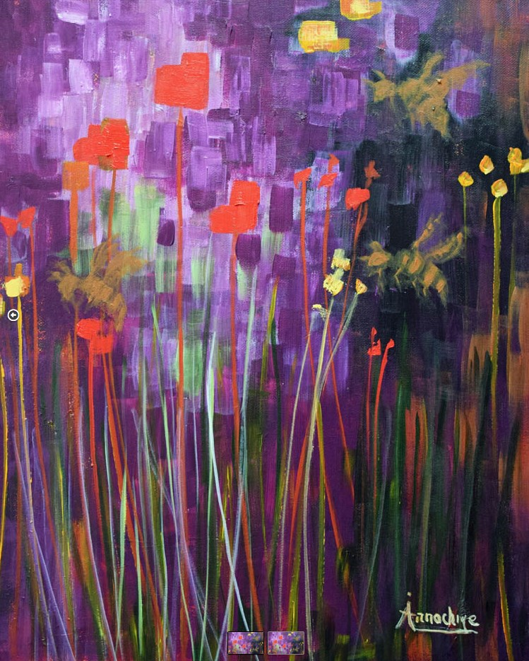 """Abstract Environmental Art , Purple Painting Aunt Bee  by International Expression Artist Arrachme"" original fine art by Arrachme Art"