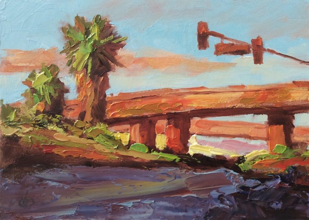 """CALIFORNIA FREEWAY AT SUNSET"" original fine art by Tom Brown"
